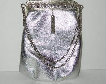 1960s Vintage Silver Hand Bag with Double Chain Handle with Tassle