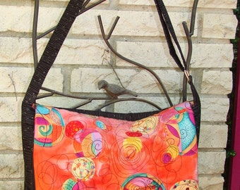 Messenger Bag - Appliqued Orange Batik