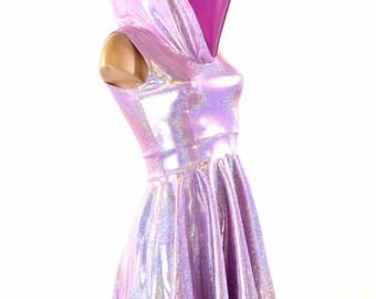 Sleeveless Lilac Purple Holographic Hoodie Skater Dress Lycra Spandex Clubwear Festival Rave 151442