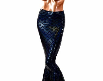 Black Holographic Dragon Scale High Waist Full Length Mermaid Skirt 151488