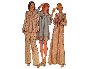 FREE PATTERNS, Uncut Misses Pajamas & Nightgown, Medium, 12 - 14, Butterick 5745