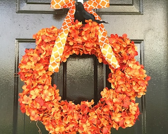 Halloween wreath with black crow, fall wreath, wreath for fall, fall decor, halloween decor
