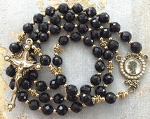 Black Onyx Rosary, Gold Crucifix, Catholic Rosaries, Prayer Beads, Religious Gift, Faceted Black Onyx Beads, Black Rosary