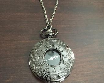 Black Locket Necklace - Pocket Watch Necklace - Clock Necklace - Locket Necklace - Wedding Jewelry - Wedding Birthday Bridesmaid Gift
