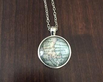 Boston, Boston Necklace, Boston jewelry, Boston pendant, Boston map necklace, Boston map, map of Boston necklace, map of Boston, necklace