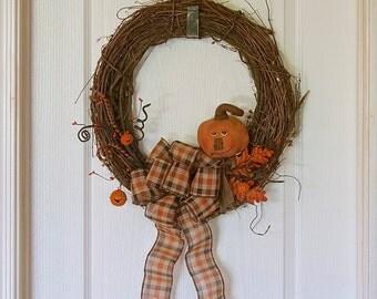 18in vintage halloween wreath primitive pumpkin wreath folk art halloween decor primitive