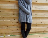 Oversized , Chunky knit sweater. Slouchy/ Bulky/ loose fit sweater. Grey knit sweater.