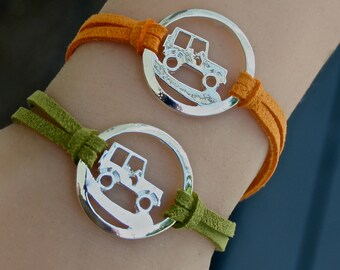 Off Road Vehicle , Infinity Circle Bracelet, Faux Suede Leather Cord Bracelet, Off Road Sport Vehicle Bracelet, Gift For Her, Sport Rally