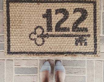 Custom House Number Welcome Mat
