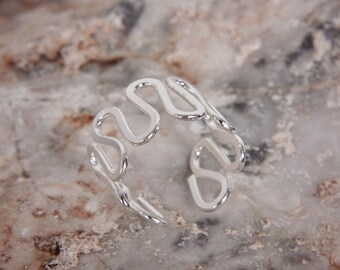 Silver snake ring wavy ring open ring, cuff ring, adjustable ring, wide band cute unsusual jewelry, handmade