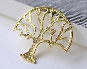 SALE Shiny Gold Large Tree Pendants Charms 47x47mm Set of 10 A8058