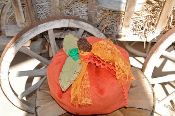 Fabric Pumpkin Recycled Fabric Fall Decor Vintage Fabric