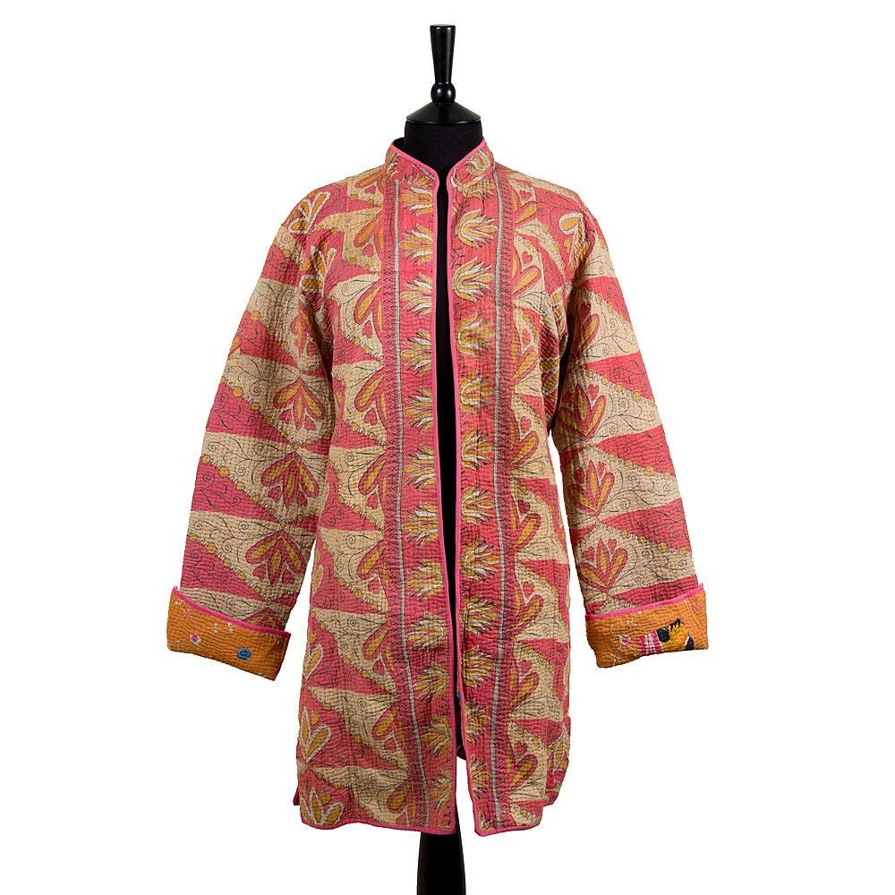 Kantha jacket large long style size light