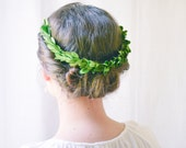 Green crown, Leaf halo, Woodland wedding hair accessories, Bridal headpiece, Wreath - NYMPH