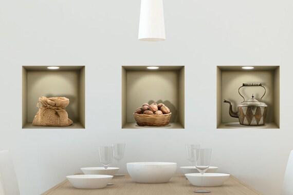 Decalcomanie da muro di nicchia 3d paese cucina da salotto for Adesivi muro cucina