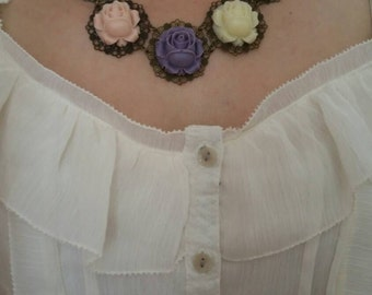Colorful Necklace, Bronze Filigree Necklace, Green Purple Pink White, Roses Necklace, Flower Jewelry, Rustic Necklace