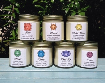 Soy CHAKRA CANDLE SET of 7 Infused with Essential Oils 100% Soy Energy Balancing Aromatherapy