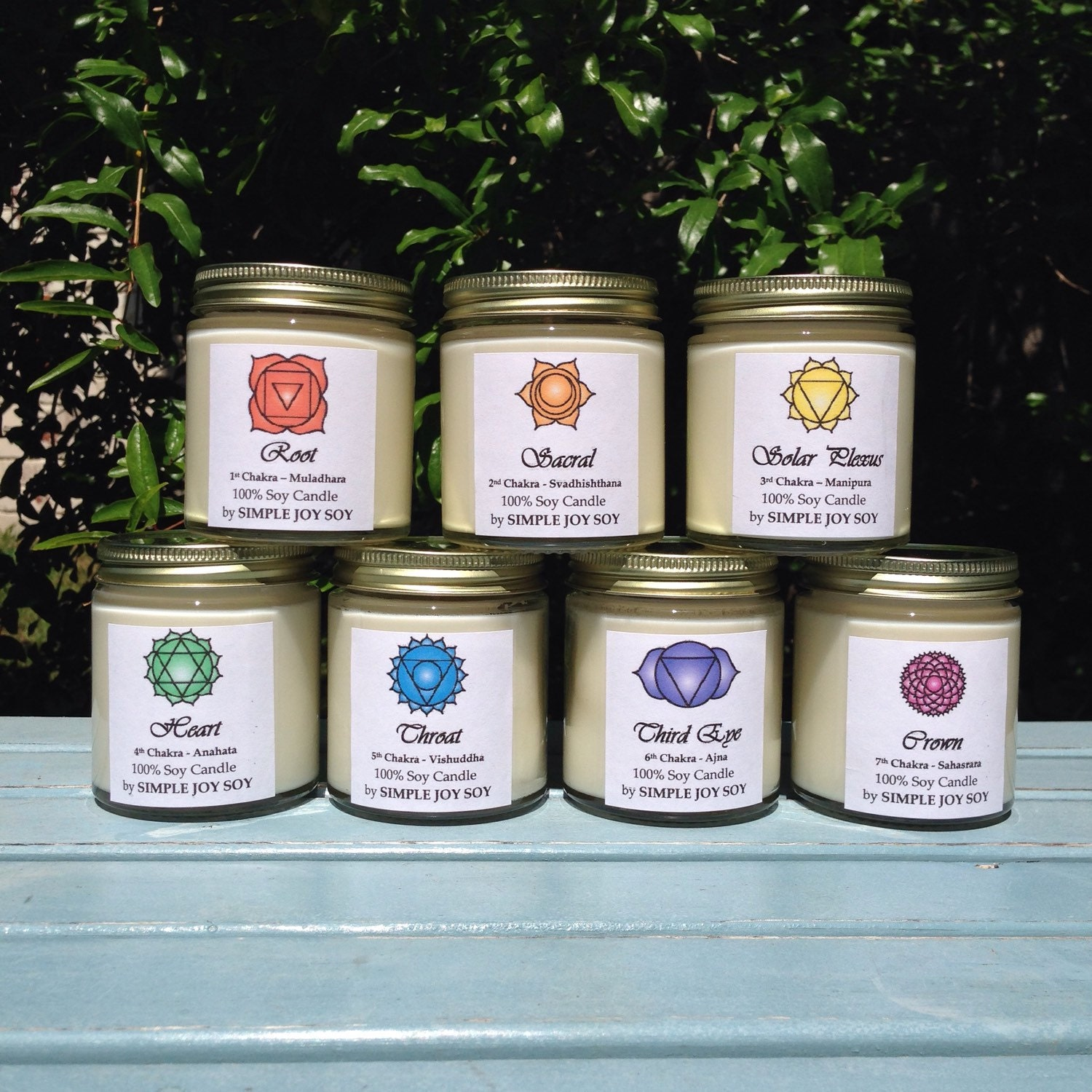 Soy CHAKRA CANDLE SET of 7 Infused with Essential Oils 100%