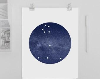 8x10 Pisces Constellation Printable Art Print •Instant Digital Download
