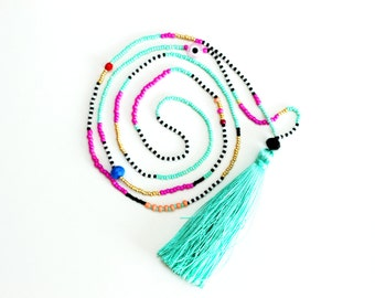 Mint Tassel Necklace - Long Beaded Necklace - Seed Bead Necklace - Tribal Necklace - Tiny Bead Necklace - Long Necklace - Mint and Pink