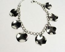 On SALE! Wavy Disc Bracelet, Silver Disc Bracelet, Silver Adjustable Bracelet, Charm Bracelet, Silver Anklet, Wavy Anklet