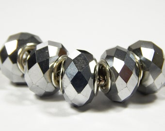 1x Murano Bead - Silver Gray Faceted Glass Bead - Large Hole - Fits European