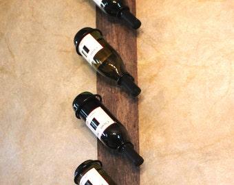 Rustic Wine Rack - Wine Bottle Holder - Reclaimed Wood - Hanging Wine Rack