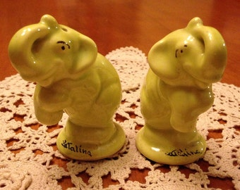 Vintage Set of Light Green-Yellow Elephant Salt and Pepper Shakers from Catalina