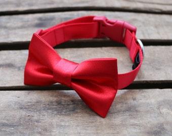 Dog Collar. Dog bow tie. Pet bowtie. Dog Bowtie. Pet collars. Dog wedding. Red dog collar.