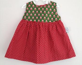 SALE Christmas Santa Print Dress 100% Cotton. Ages 0-3 Months