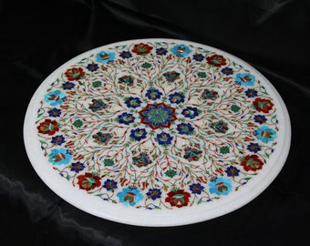 Round Coffee Table Mughal Handmade Art White Marble Stone Inlay