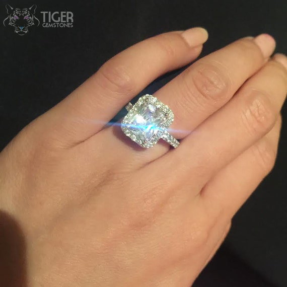 4 ctw Emerald Radiant Cut Halo Engagement Ring by TigerGemstones