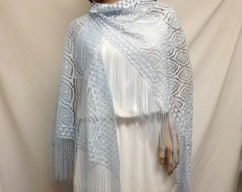 Lace shawl ,Large, Blue Shawl ,Fringed Wrap,light blue