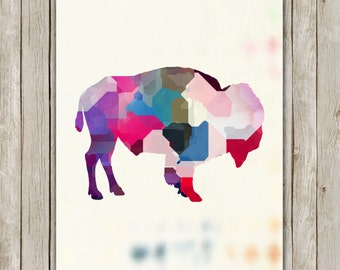 8x10 Buffalo Modern Art Print, Bison Poster, Watercolor Wild Game Print, Buffalo Nursery Wall Art, Home Decor, Instant Digital Download