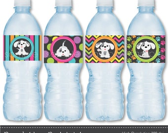Puppy's Water Bottle Labels - Digital Printable File -  INSTANT DOWNLOAD