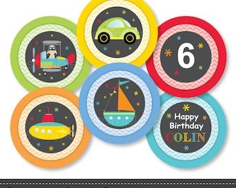 Transportation Cupcake Toppers, Transportation stickers, Transportation birthday, Transportation party, Digital Printable File