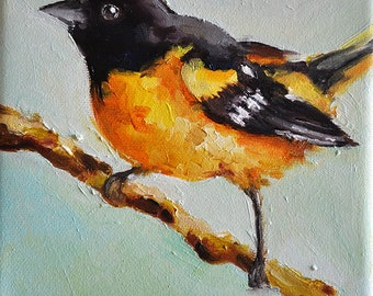 Original Oil Bird Painting, Impressionist Baltimore Oriole Painting, Maryland State Bird 6x6 Inch