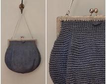 Vintage bag, 1910's / 20s navy blue crochet purse / handbag, Silver tone frame with chain carry handle, Edwardian to flapper bag, Art Deco
