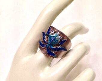 SALE- Antique Silver Chinese Export Enamel Koi Fish Ring- Unique Gorgeous Color! SALE!