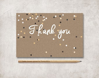 Thank You Card Printable, Baby Shower Thank you Card Printable, Confetti Thank you Note, Printable Thank you Card, Digital File