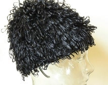 Vintage 50's 60's Ladies Black Raffia Loop Cap Hat