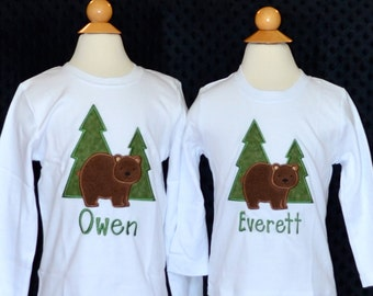 Personalized Forest Bear Applique Shirt or Onesie Girl or Boy