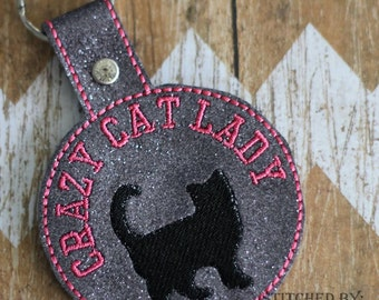 Crazy Cat -  Crazy Kitty - In The Hoop - Snap/Rivet Key Fob - DIGITAL Embroidery Design