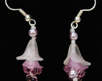 Unique Gift   Adorable Flower Pearl Lilac Earrings  Elegant Beautiful   Lucite Purple and Violet Glass Drop   Sterling Silver, Seed Bead