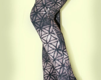 tie dye Sacred geometry flower of life grey cotton leggings