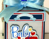Handmade BABY BOY First Year Scrapbook Explosion Album In A Box