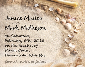 Save the Date Message in a Bottle // Destination Wedding  // Hearts Monogram Initials Sand // Beach Shells // Upcoming Wedding
