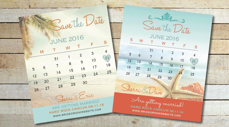 Calendar Save Date Fridge Magnets Wedding Month Destination