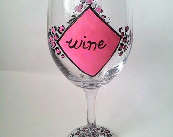 Pink Leopard Print wine glass 20oz.