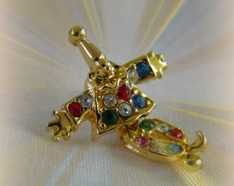 Articulated and Jeweled Clown Pin Back - Small but Special